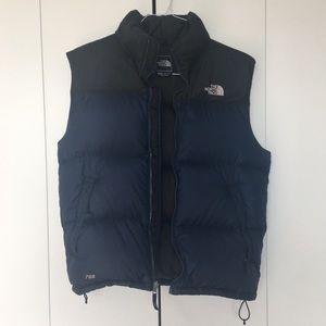 Men's Black and Blue North Face Vest